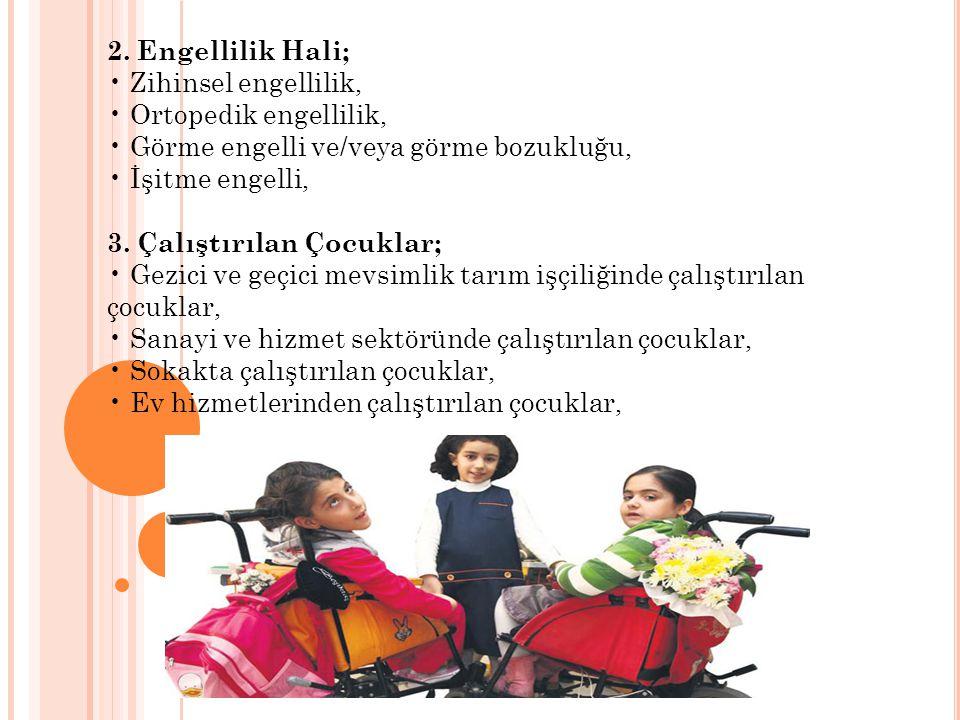 2. Engellilik Hali; • Zihinsel engellilik, • Ortopedik engellilik, • Görme engelli ve/veya görme bozukluğu,