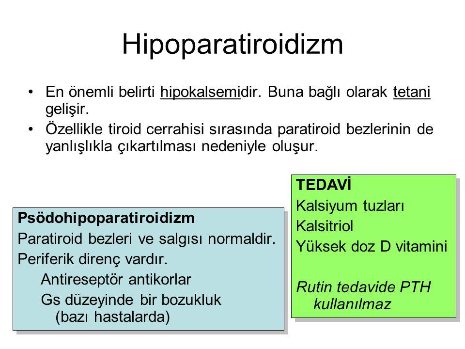 Hipoparatiroidizm En önemli belirti hipokalsemidir. Buna bağlı olarak tetani gelişir.