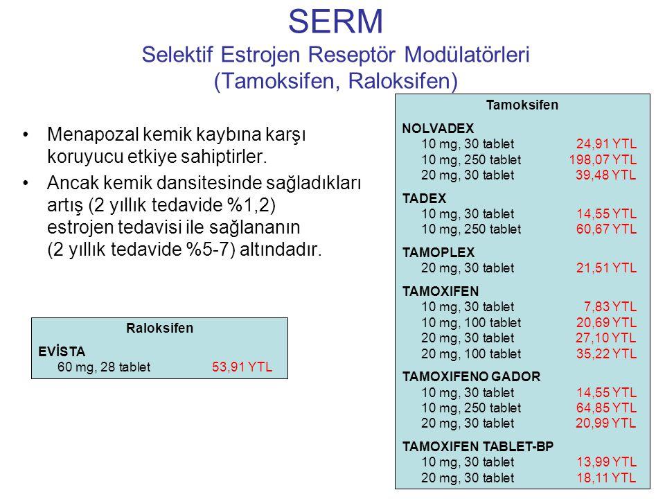 SERM Selektif Estrojen Reseptör Modülatörleri (Tamoksifen, Raloksifen)