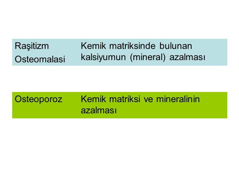 Raşitizm Osteomalasi. Kemik matriksinde bulunan kalsiyumun (mineral) azalması.