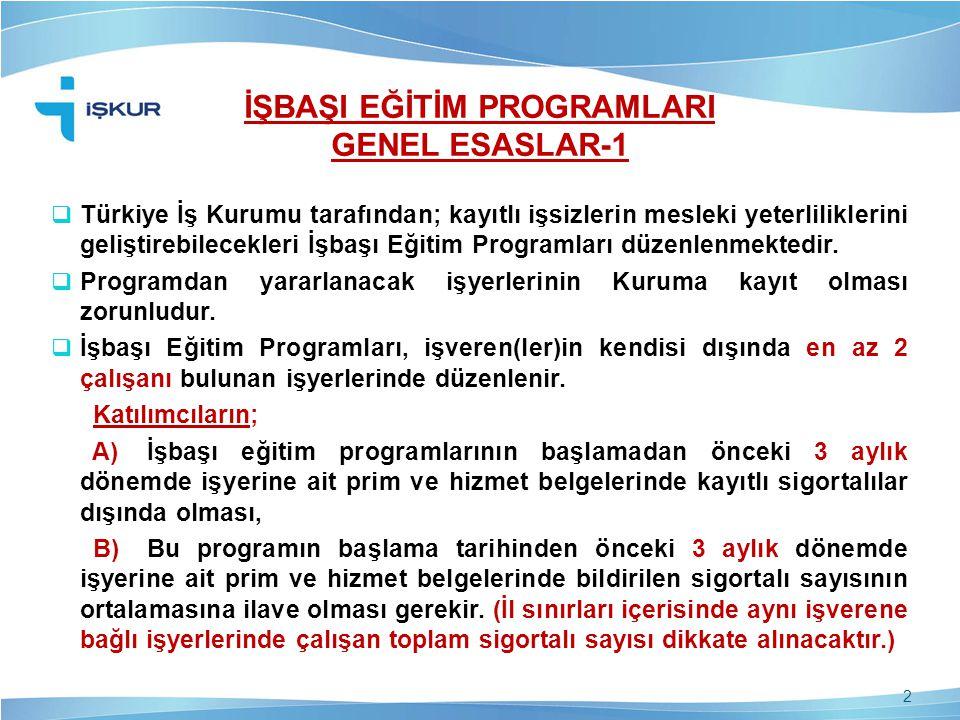 İŞBAŞI EĞİTİM PROGRAMLARI GENEL ESASLAR-1