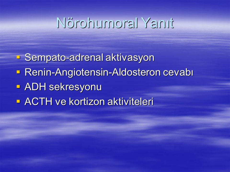 Nörohumoral Yanıt Sempato-adrenal aktivasyon