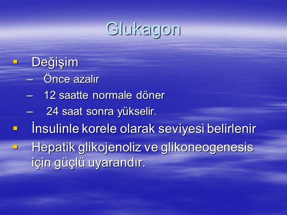 Glukagon Değişim İnsulinle korele olarak seviyesi belirlenir