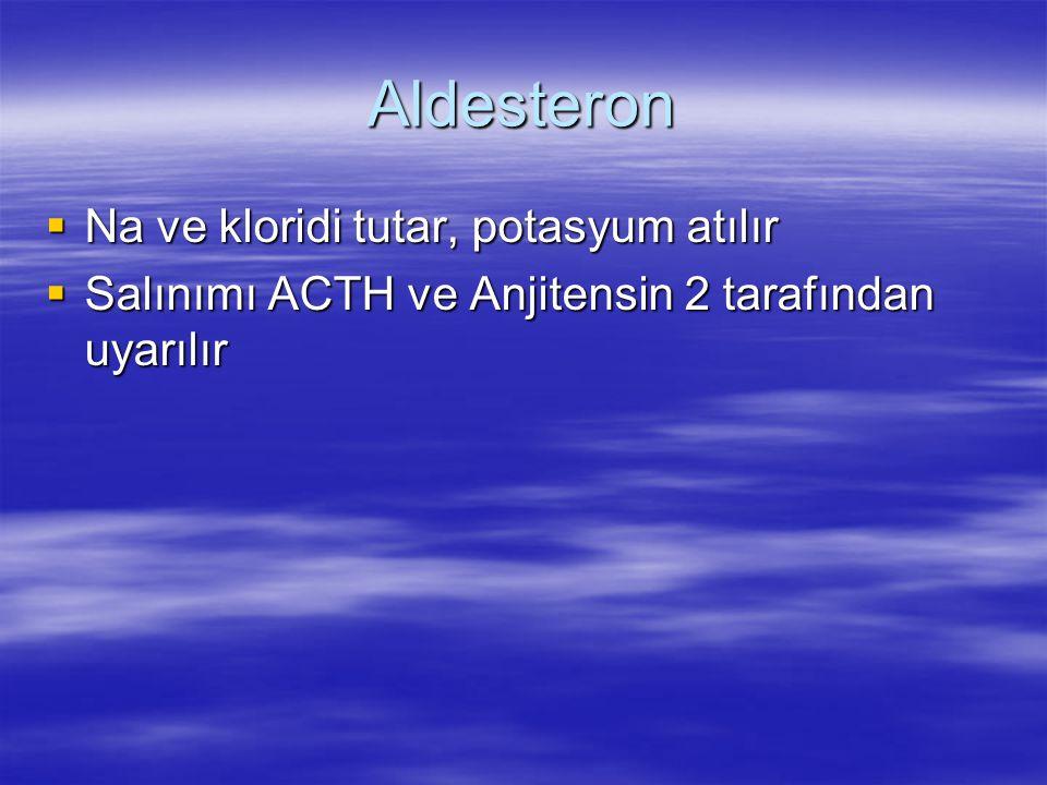 Aldesteron Na ve kloridi tutar, potasyum atılır