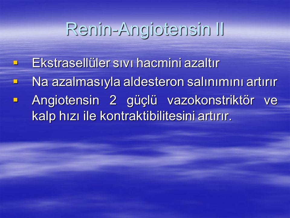 Renin-Angiotensin II Ekstrasellüler sıvı hacmini azaltır