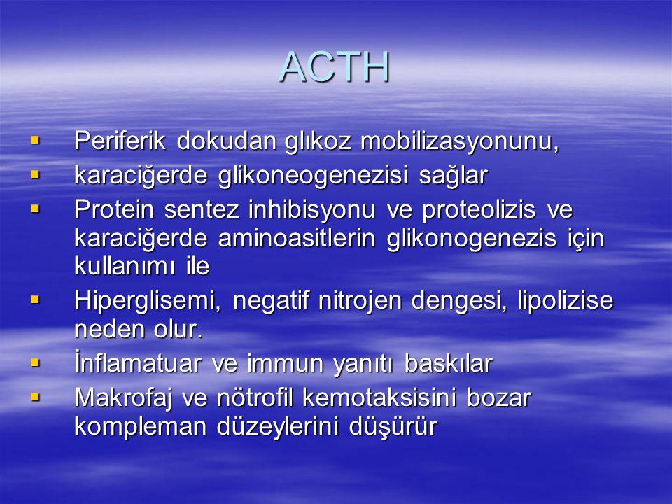 ACTH Periferik dokudan glıkoz mobilizasyonunu,