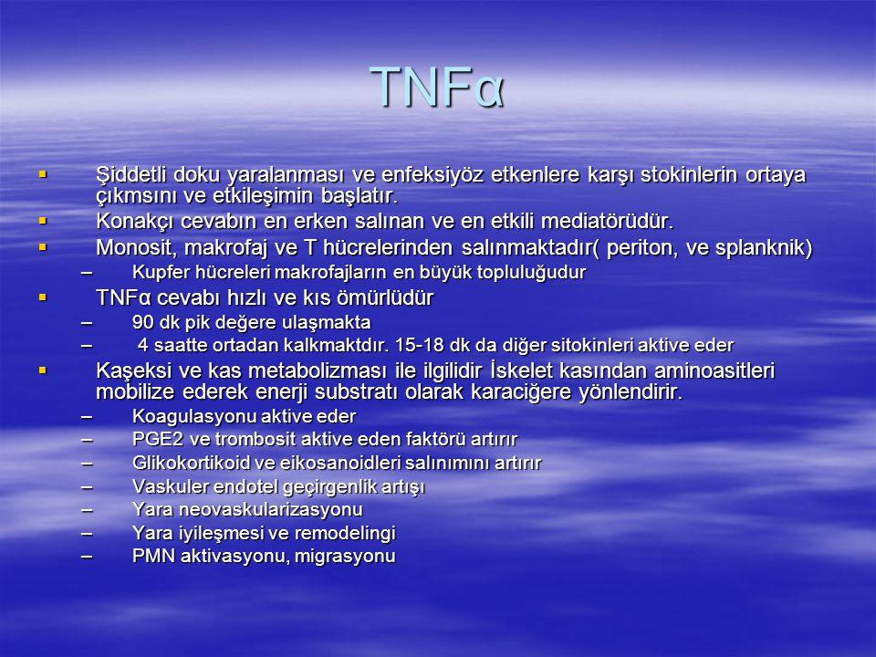 TNFα Şiddetli doku yaralanması ve enfeksiyöz etkenlere karşı stokinlerin ortaya çıkmsını ve etkileşimin başlatır.
