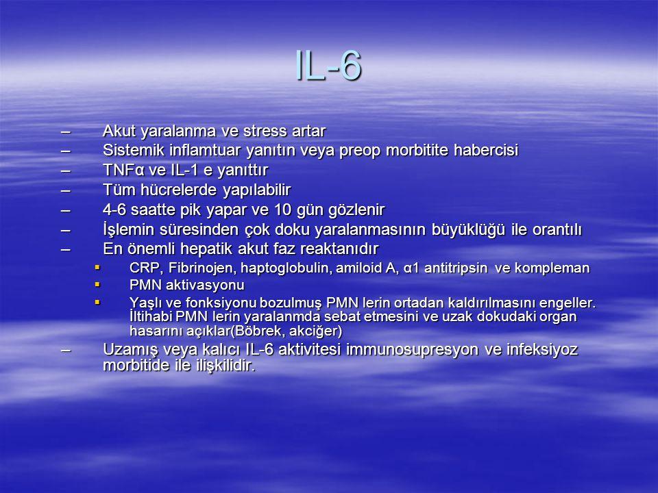 IL-6 Akut yaralanma ve stress artar