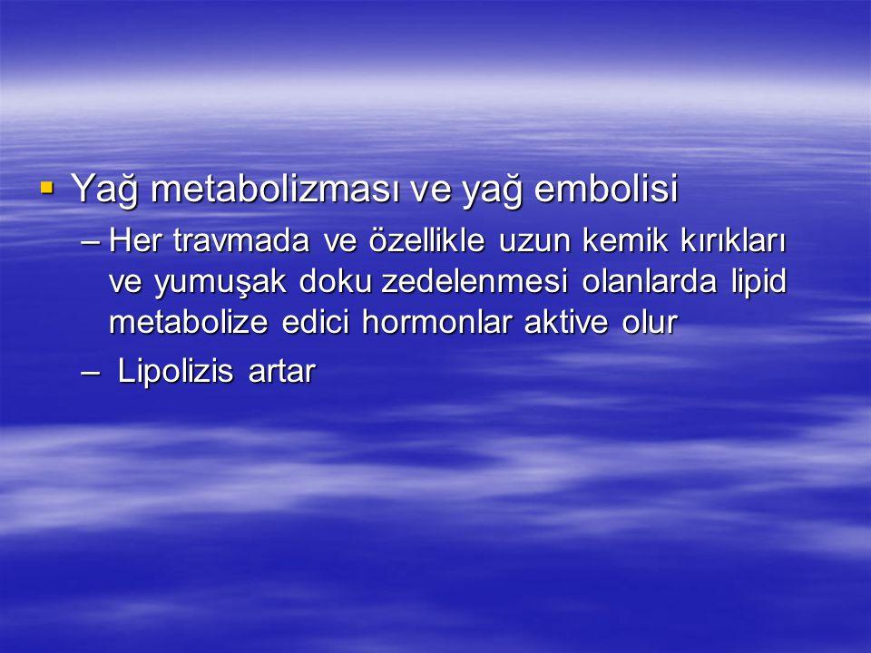 Yağ metabolizması ve yağ embolisi