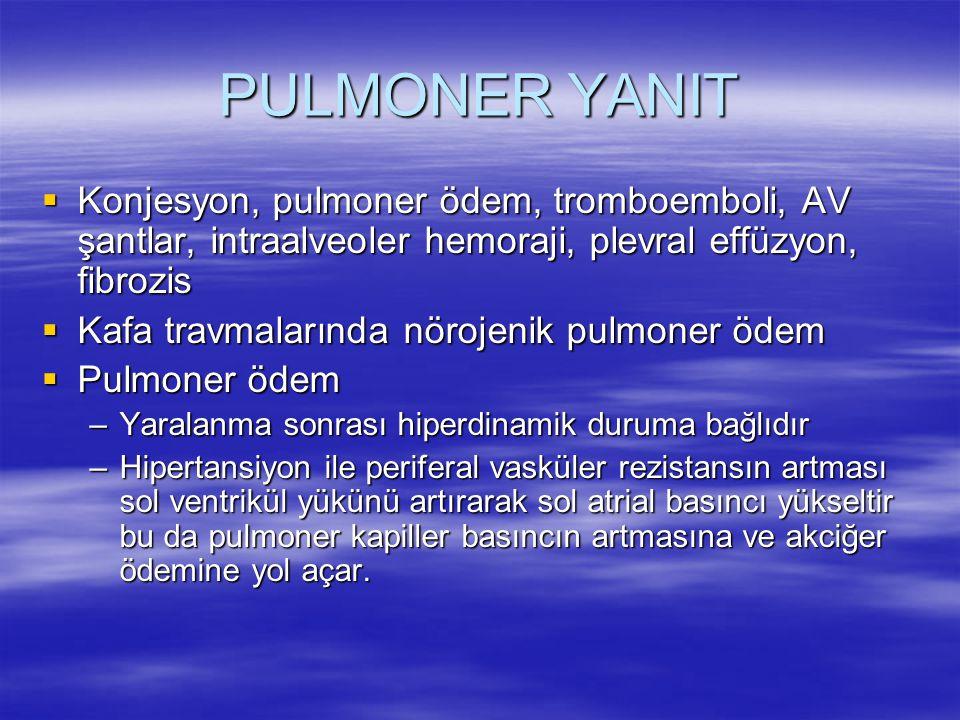 PULMONER YANIT Konjesyon, pulmoner ödem, tromboemboli, AV şantlar, intraalveoler hemoraji, plevral effüzyon, fibrozis.