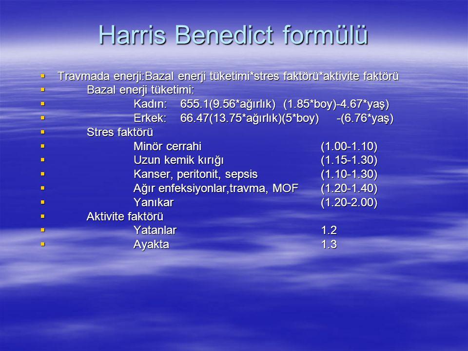 Harris Benedict formülü