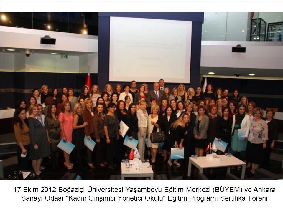 17 Ekim 2012 Boğaziçi Üniversitesi Yaşamboyu Eğitim Merkezi (BÜYEM) ve Ankara Sanayi Odası Kadın Girişimci Yönetici Okulu Eğitim Programı Sertifika Töreni