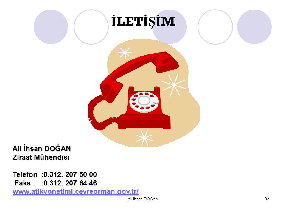 İLETİŞİM Ali İhsan DOĞAN Ziraat Mühendisi Telefon :0.312. 207 50 00