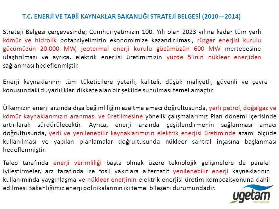 T.C. ENERJİ VE TABİİ KAYNAKLAR BAKANLIĞI STRATEJİ BELGESİ (2010—2014)