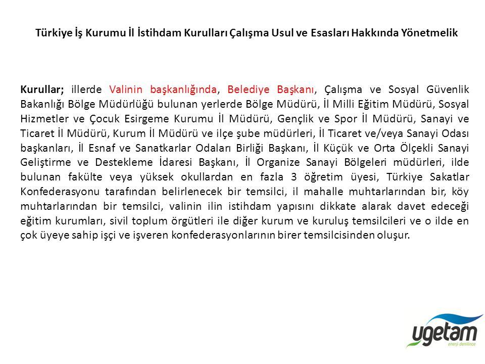 Türkiye İş Kurumu İl İstihdam Kurulları Çalışma Usul ve Esasları Hakkında Yönetmelik