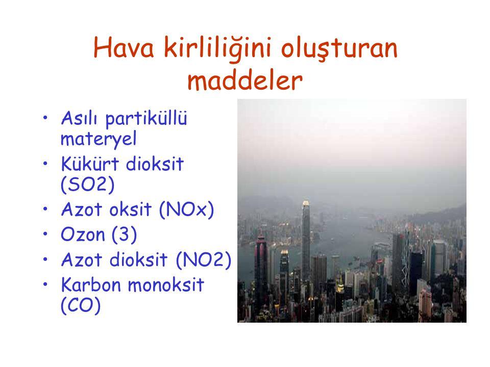 Hava kirliliğini oluşturan maddeler