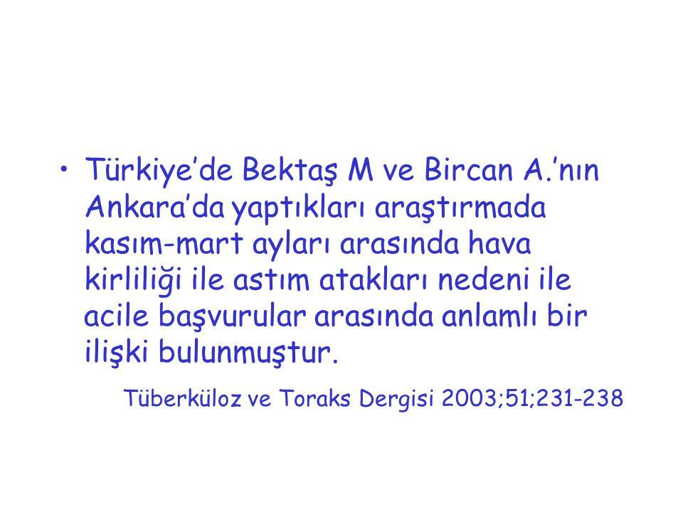 Türkiye'de Bektaş M ve Bircan A