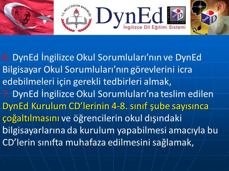 6. DynEd İngilizce Okul Sorumluları'nın ve DynEd Bilgisayar Okul Sorumluları'nın görevlerini icra edebilmeleri için gerekli tedbirleri almak,