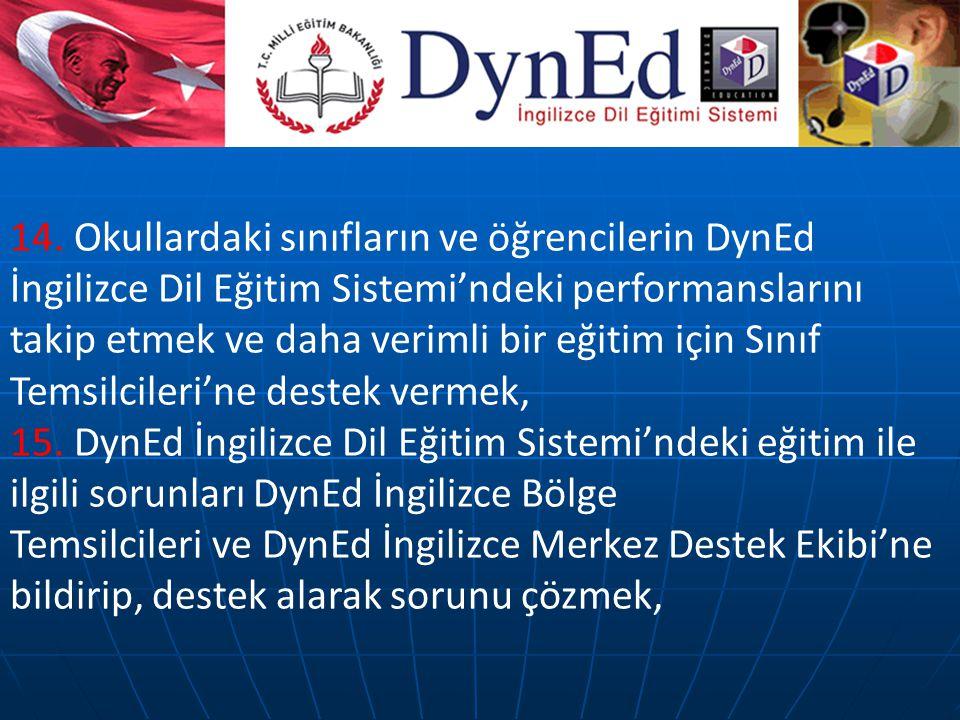 14. Okullardaki sınıfların ve öğrencilerin DynEd İngilizce Dil Eğitim Sistemi'ndeki performanslarını takip etmek ve daha verimli bir eğitim için Sınıf Temsilcileri'ne destek vermek,