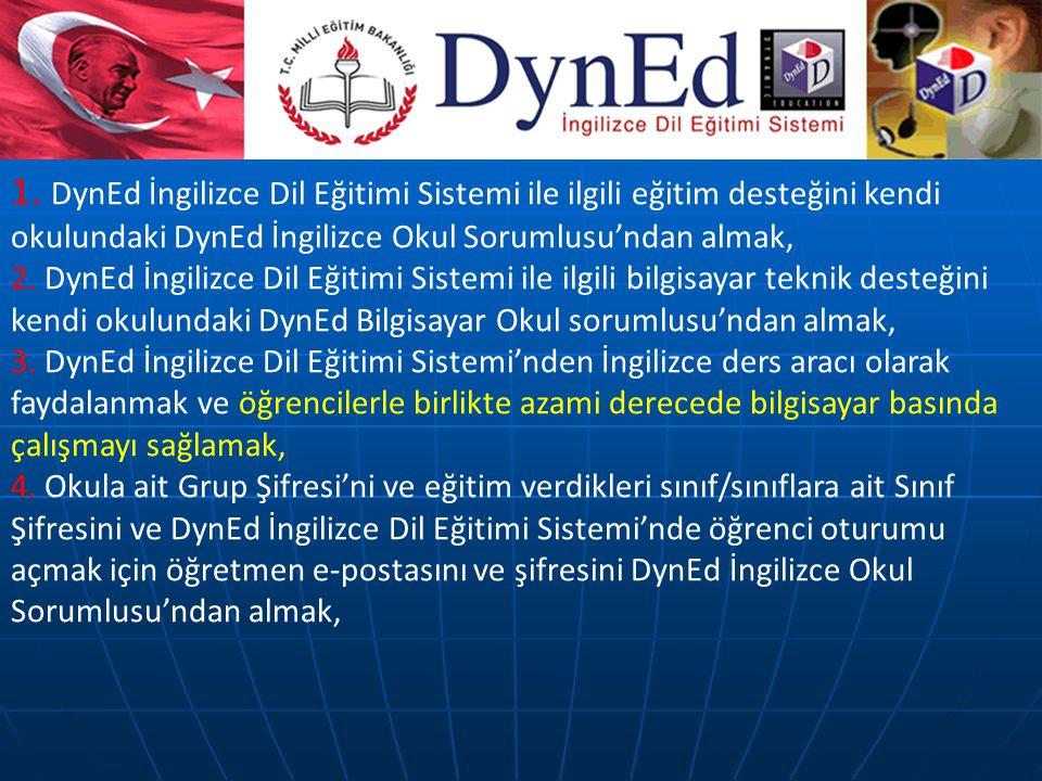 1. DynEd İngilizce Dil Eğitimi Sistemi ile ilgili eğitim desteğini kendi okulundaki DynEd İngilizce Okul Sorumlusu'ndan almak,