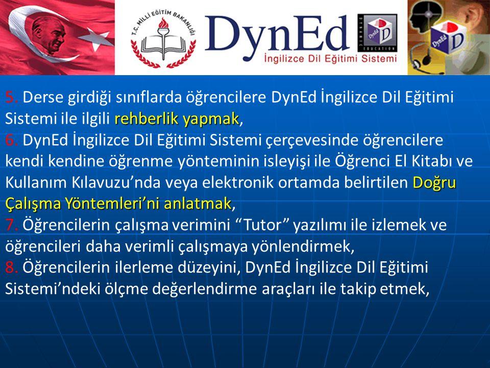 5. Derse girdiği sınıflarda öğrencilere DynEd İngilizce Dil Eğitimi Sistemi ile ilgili rehberlik yapmak,