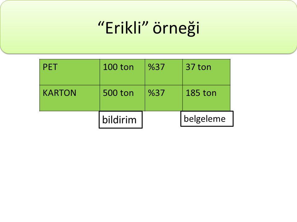 Erikli örneği bildirim PET 100 ton %37 37 ton KARTON 500 ton 185 ton