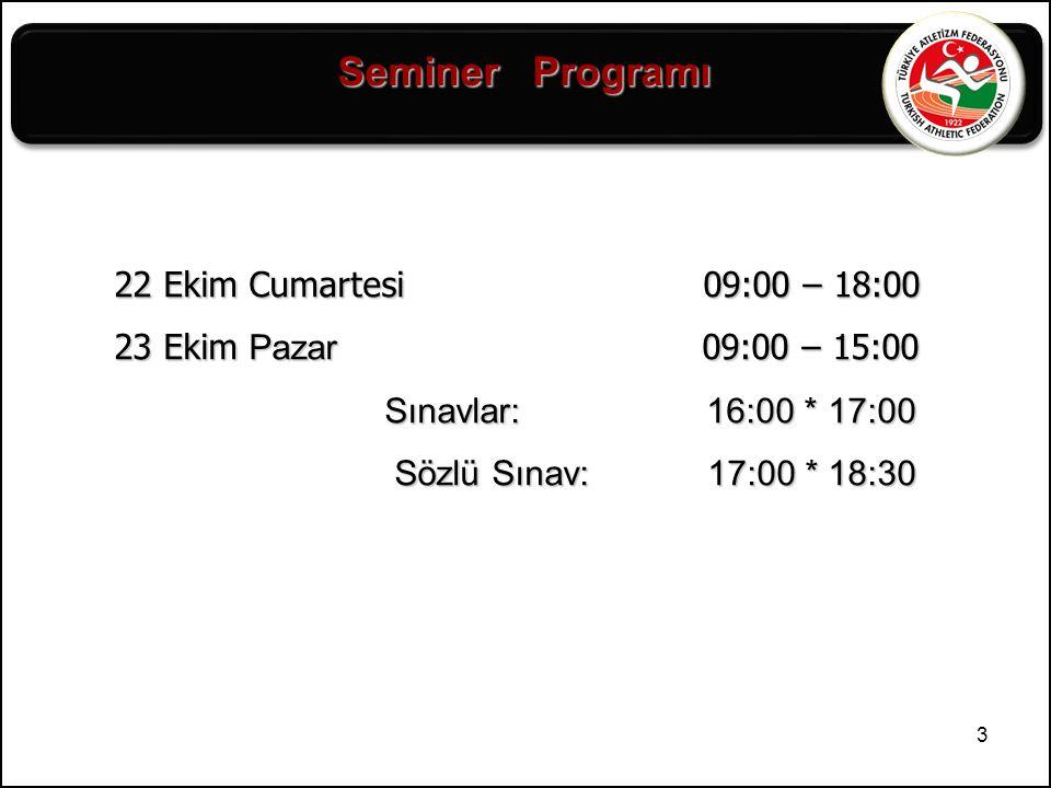 Seminer Programı 22 Ekim Cumartesi 09:00 – 18:00