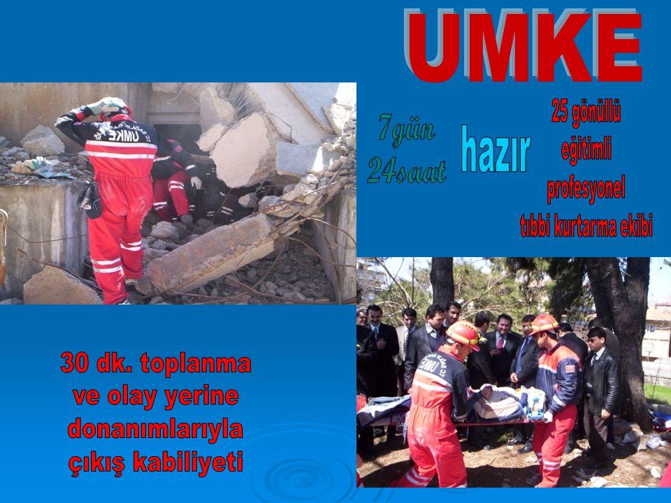 UMKE hazır 7gün 24saat 25 gönüllü eğitimli profesyonel