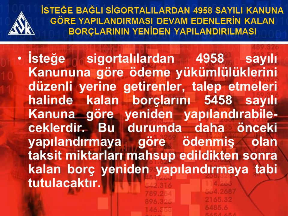İSTEĞE BAĞLI SİGORTALILARDAN 4958 SAYILI KANUNA GÖRE YAPILANDIRMASI DEVAM EDENLERİN KALAN BORÇLARININ YENİDEN YAPILANDIRILMASI