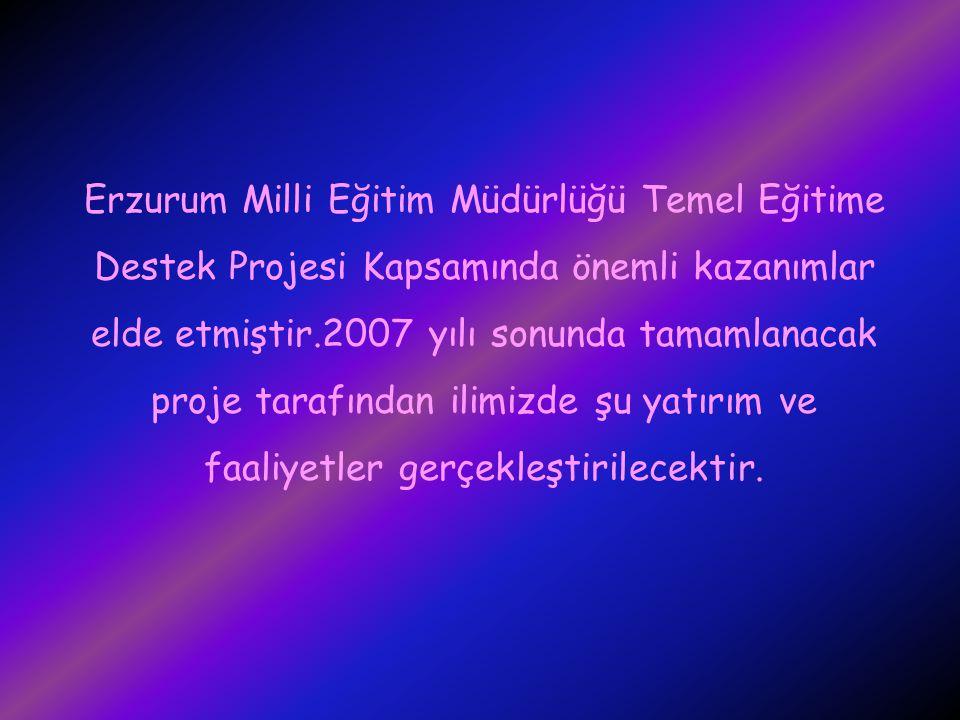 Erzurum Milli Eğitim Müdürlüğü Temel Eğitime Destek Projesi Kapsamında önemli kazanımlar elde etmiştir.2007 yılı sonunda tamamlanacak proje tarafından ilimizde şu yatırım ve faaliyetler gerçekleştirilecektir.