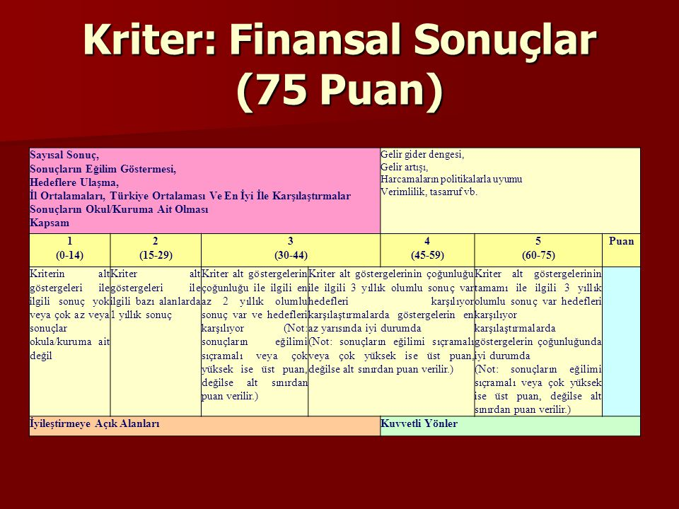 Kriter: Finansal Sonuçlar (75 Puan)