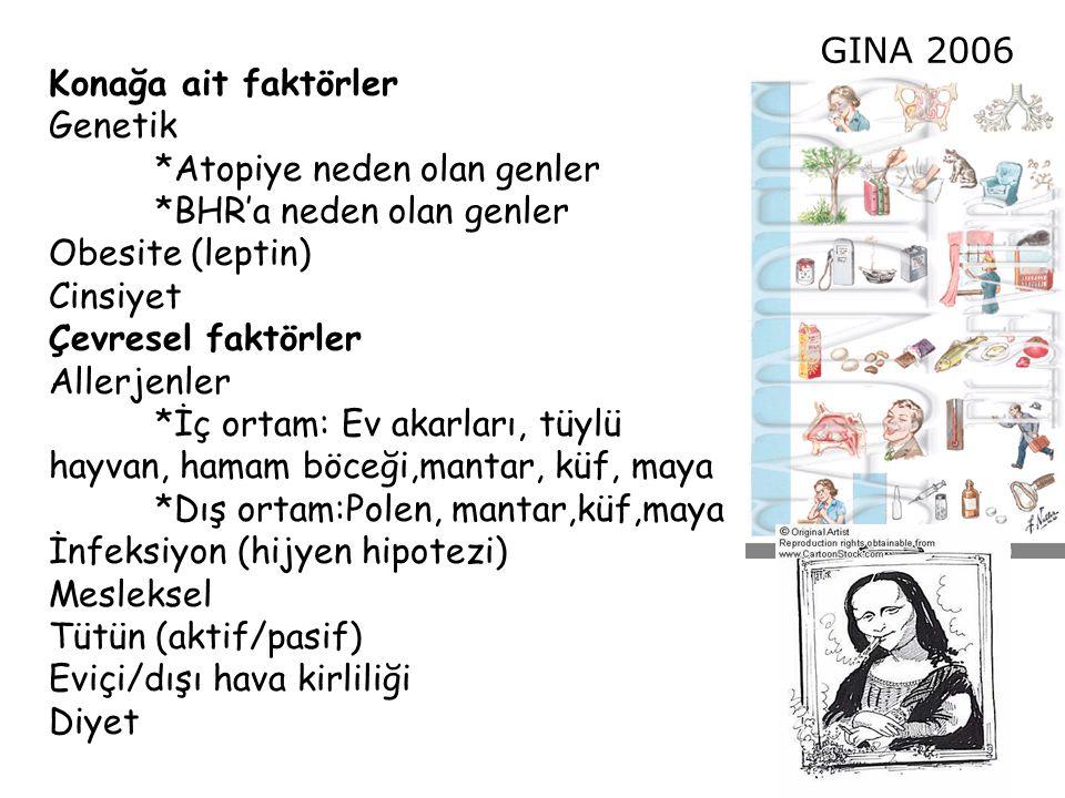 Konağa ait faktörler Genetik. *Atopiye neden olan genler. *BHR'a neden olan genler. Obesite (leptin)
