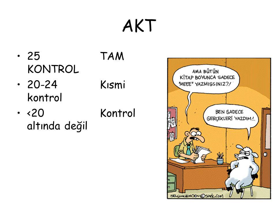 AKT 25 TAM KONTROL 20-24 Kısmi kontrol <20 Kontrol altında değil