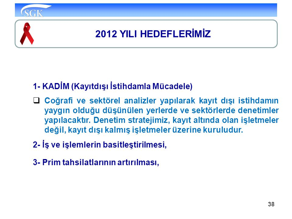 2012 YILI HEDEFLERİMİZ 1- KADİM (Kayıtdışı İstihdamla Mücadele)
