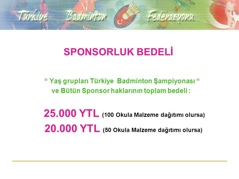 SPONSORLUK BEDELİ Yaş grupları Türkiye Badminton Şampiyonası