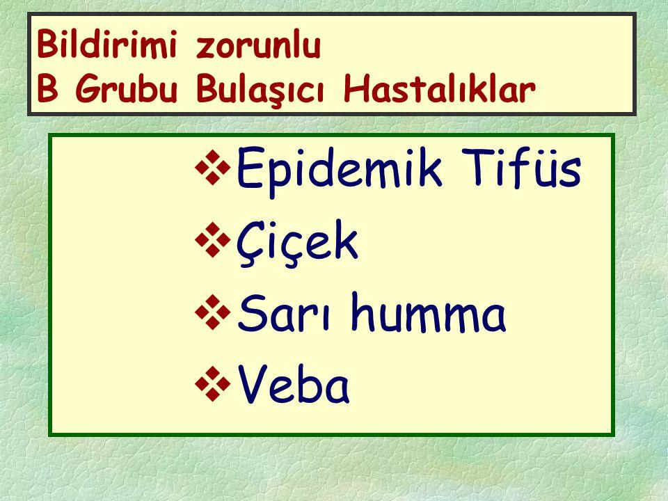 Bildirimi zorunlu B Grubu Bulaşıcı Hastalıklar