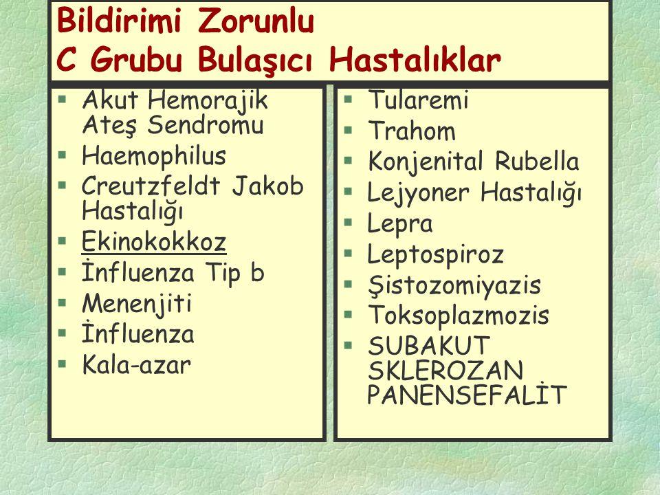 Bildirimi Zorunlu C Grubu Bulaşıcı Hastalıklar