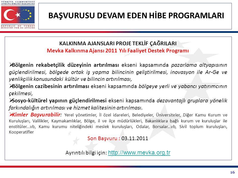Mevka Kalkınma Ajansı 2011 Yılı Faaliyet Destek Programı