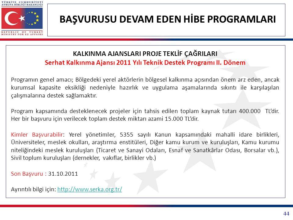Serhat Kalkınma Ajansı 2011 Yılı Teknik Destek Programı II. Dönem