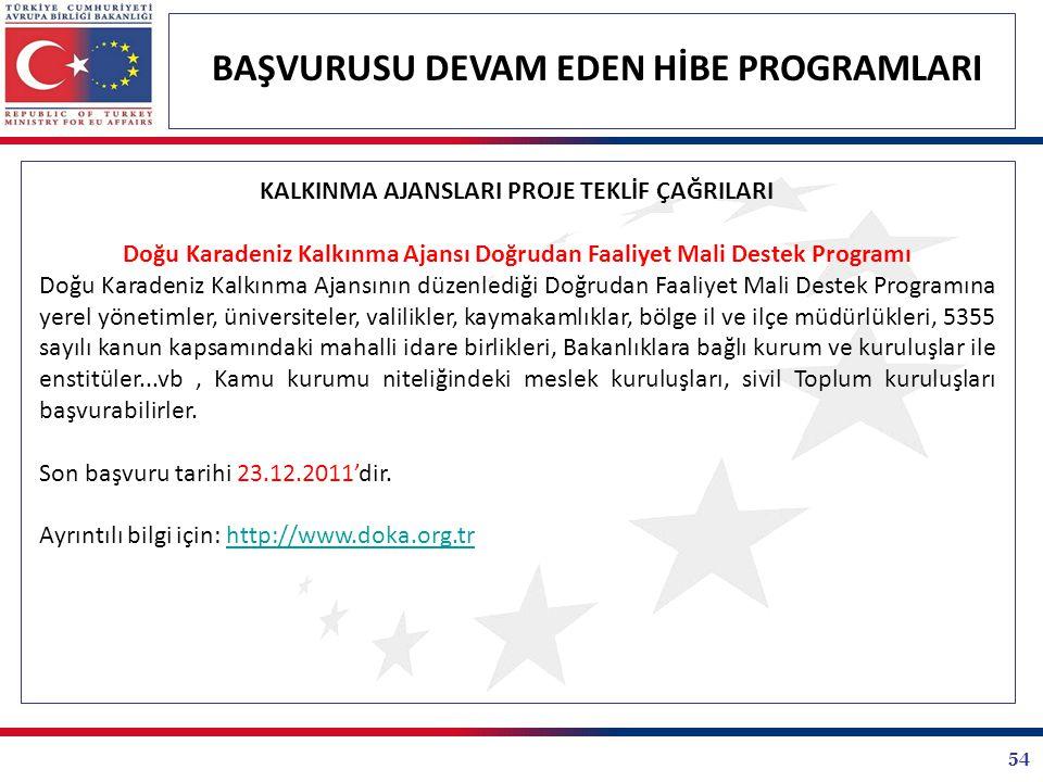 Doğu Karadeniz Kalkınma Ajansı Doğrudan Faaliyet Mali Destek Programı