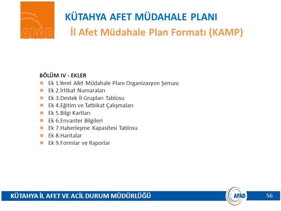 KÜTAHYA AFET MÜDAHALE PLANI İl Afet Müdahale Plan Formatı (KAMP)