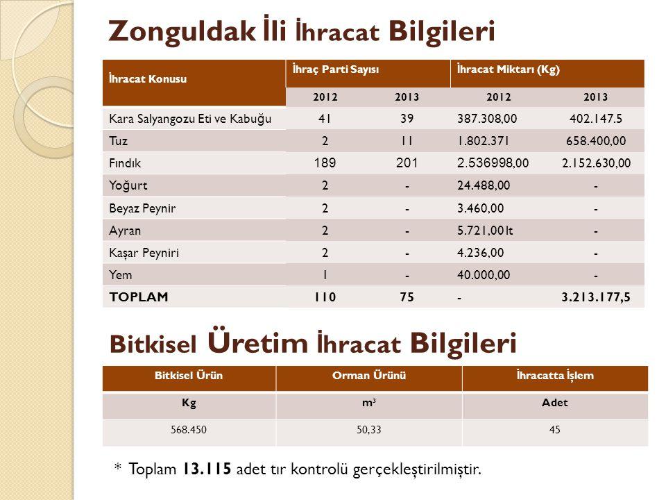 Zonguldak İli İhracat Bilgileri