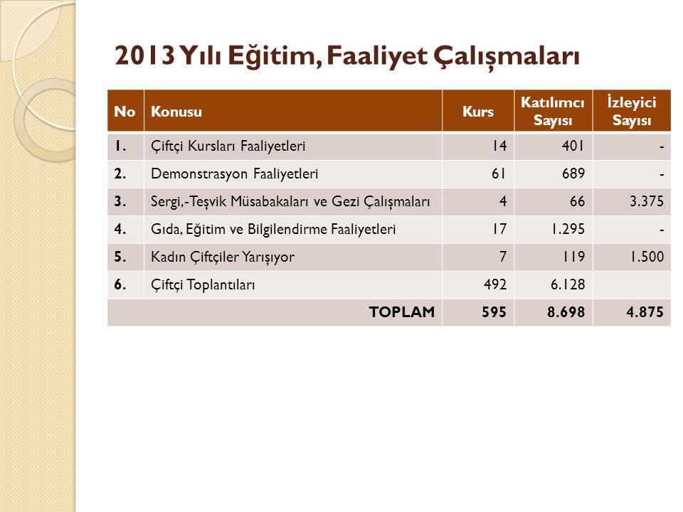 2013 Yılı Eğitim, Faaliyet Çalışmaları