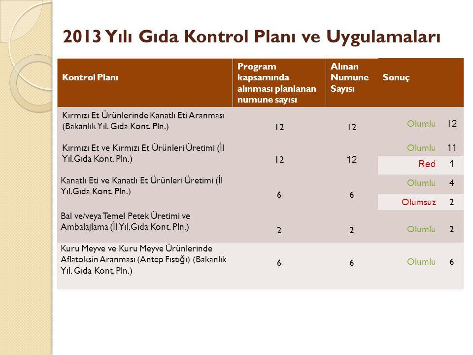 2013 Yılı Gıda Kontrol Planı ve Uygulamaları