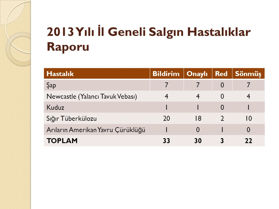 2013 Yılı İl Geneli Salgın Hastalıklar Raporu