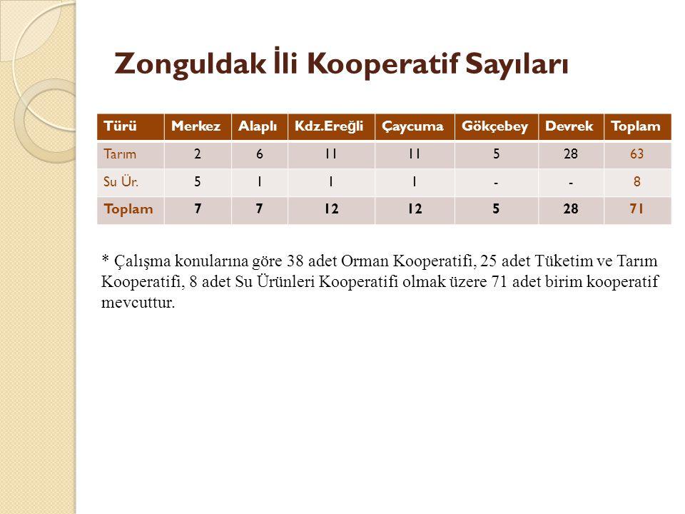 Zonguldak İli Kooperatif Sayıları