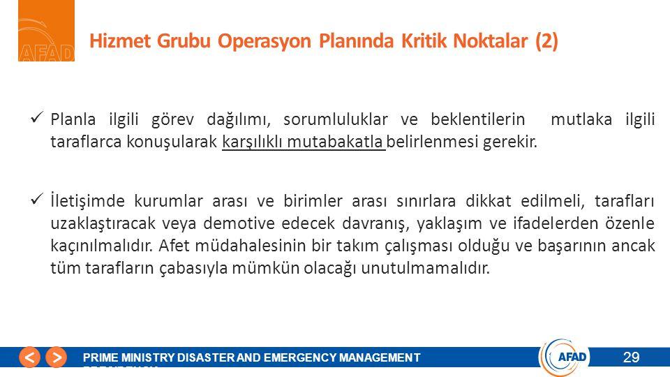 Hizmet Grubu Operasyon Planında Kritik Noktalar (2)