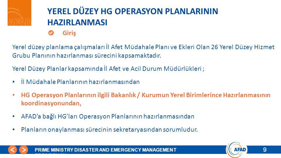 YEREL DÜZEY HG OPERASYON PLANLARININ HAZIRLANMASI