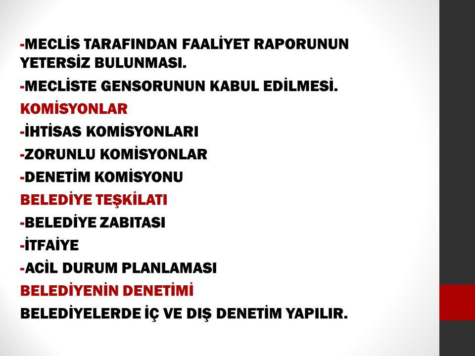 -MECLİS TARAFINDAN FAALİYET RAPORUNUN YETERSİZ BULUNMASI