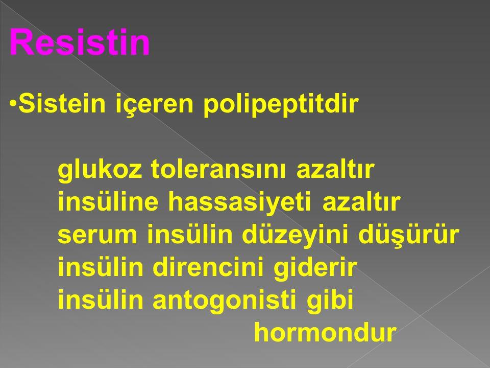 Resistin Sistein içeren polipeptitdir glukoz toleransını azaltır